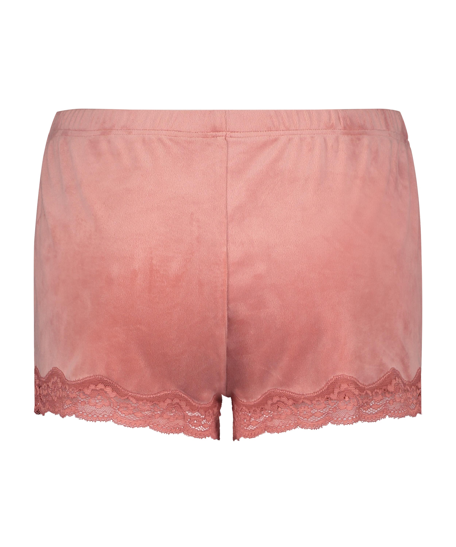 Shorts aus Velours mit Spitze, Rose, main