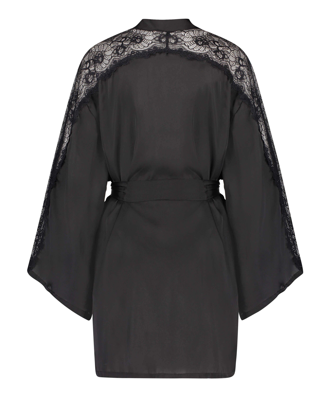 Kimono Satin Lace, Schwarz, main