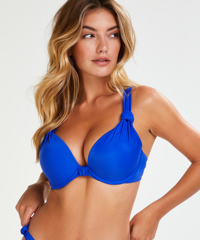 Vorgeformtes Bügel-Bikinitop Luxe Cup E +, Blau, main