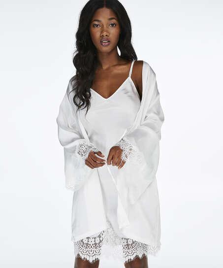 Kimono Lace Satin, Weiß