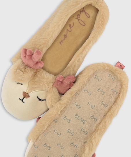 Pantoffeln Ballerina, Beige