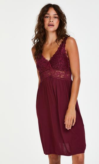 Slipdress Modal Lace, Rot