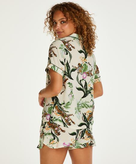 Pyjamatop kurze Ärmel Print, Rose