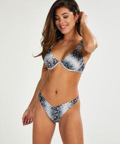 Brazilian Bikini-Slip mit hohem Beinausschnitt Snake, Schwarz