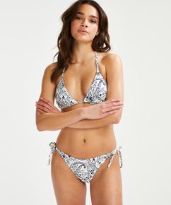 Brazilian tanga Bikini-Slip Paisley, Weiß