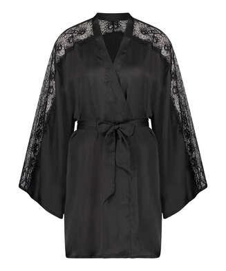 Kimono Satin Lace, Schwarz
