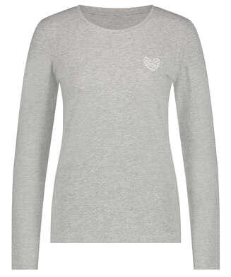 Pyjamatop lange Ärmel Jersey Hearts, Grau