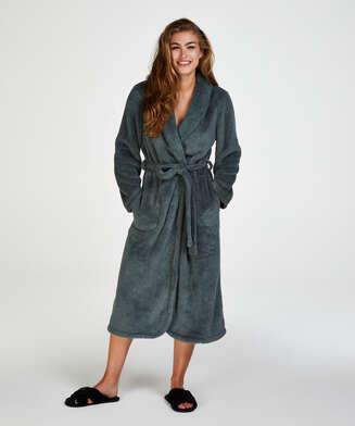Fleece-Bademantel lang, grün