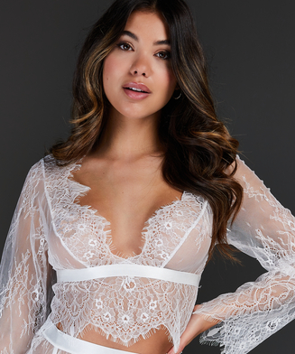 Top Allover Lace, Weiß