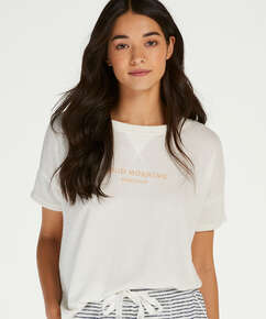 Pyjamatop kurzärmlig Brushed Jersey, Weiß