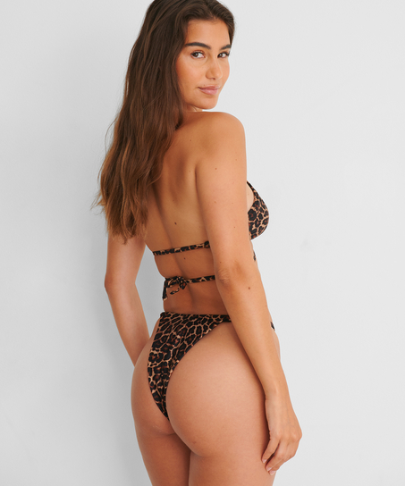 Vorgeformtes Dreieck-Bikinioberteil Animal Wrap HKM x NA-KD, Braun