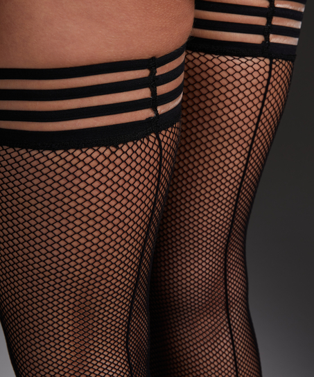 Stay-ups Private Striped Top Fishnet, Schwarz