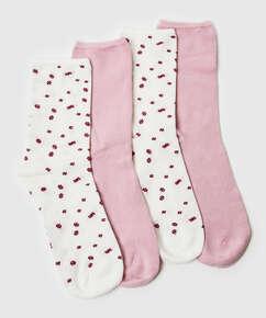 2 Paar Socken Floral Soft Touch, Weiß