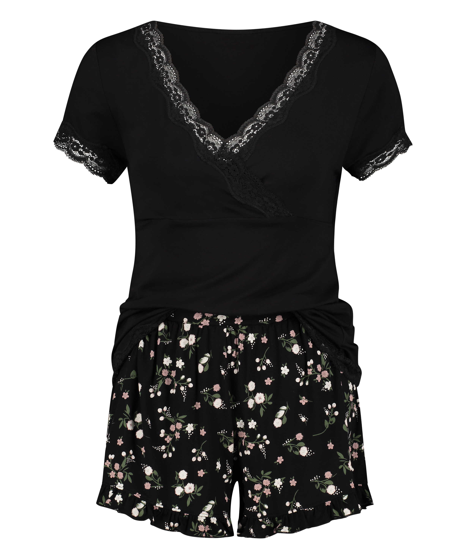 Umstands-Pyjama Set Ditzy Flower, Schwarz, main