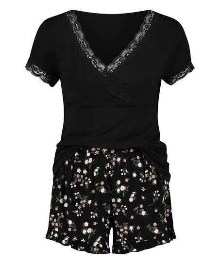 Umstands-Pyjama Set Ditzy Flower, Schwarz