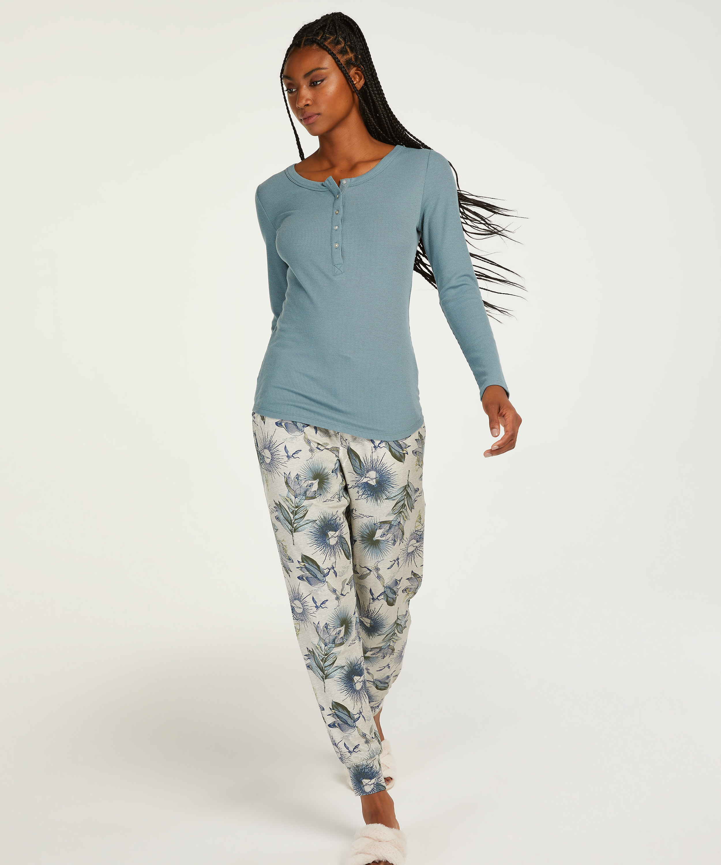 Langarm-Pyjamatop, Blau, main