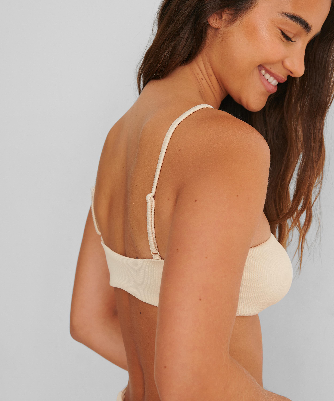 Bikini-Croptop mit Struktur HKM x NA-KD, Weiß, main