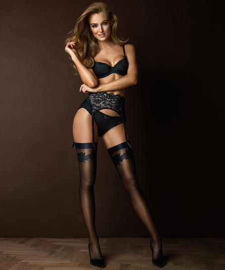 Stockings Noir Satin Top, Schwarz