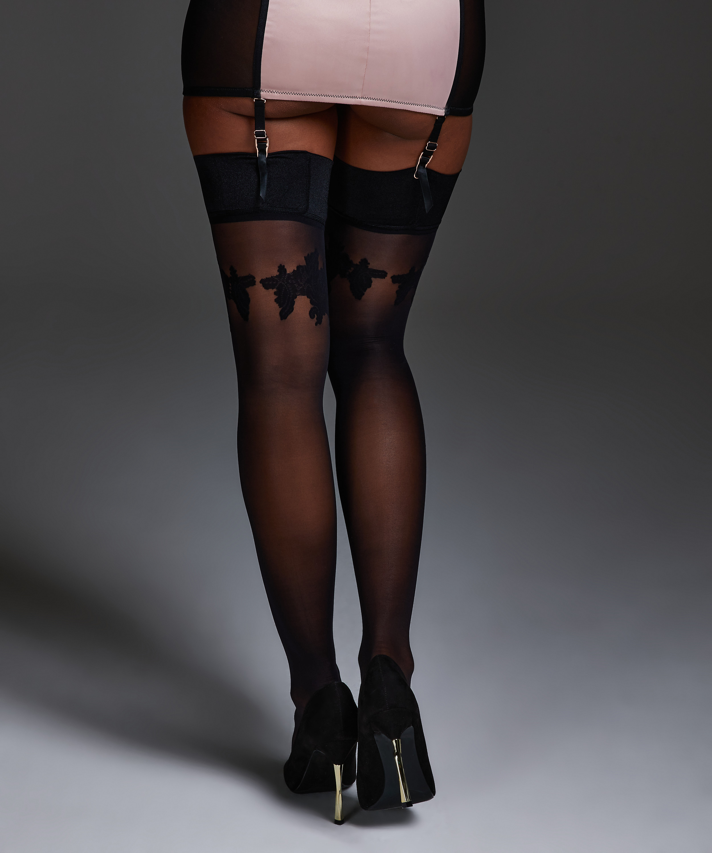 Stockings Noir Satin Top, Schwarz, main