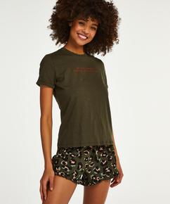 Pyjamatop mit kurzen Ärmeln und Rundhalsausschnitt, grün