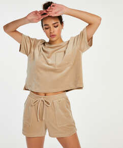 Pyjamatop langärmelig Velours Pocket, Beige