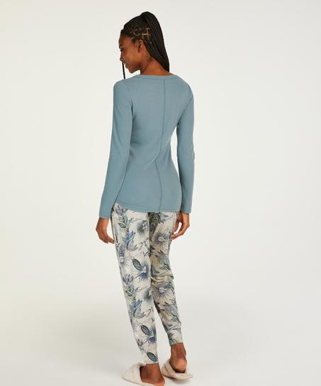 Langarm-Pyjamatop, Blau