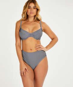 Nicht vorgeformtes Bügel-Bikini-Top Ruffle, Blau