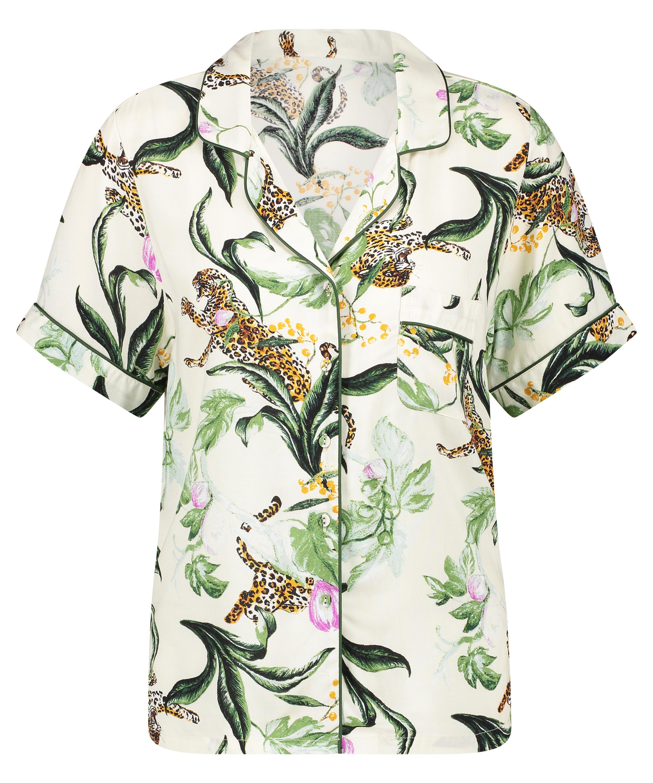 Pyjamatop kurze Ärmel Print, Rose, main