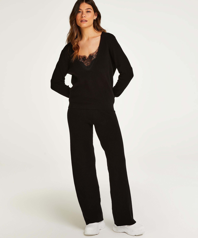Premium Lange Hosen aus Strick, Schwarz, main