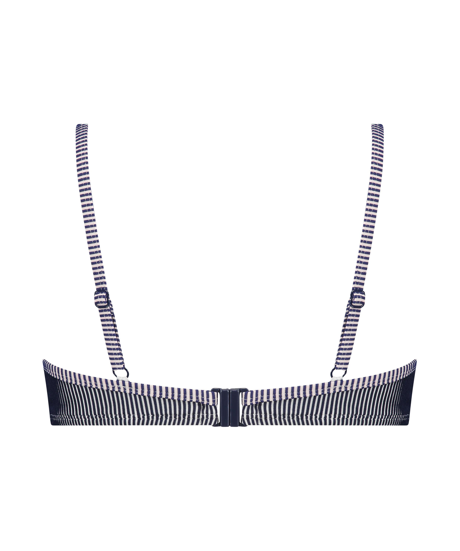 Vorgeformtes Bügel-Bikini-Top Ruffle Stripe, Blau, main