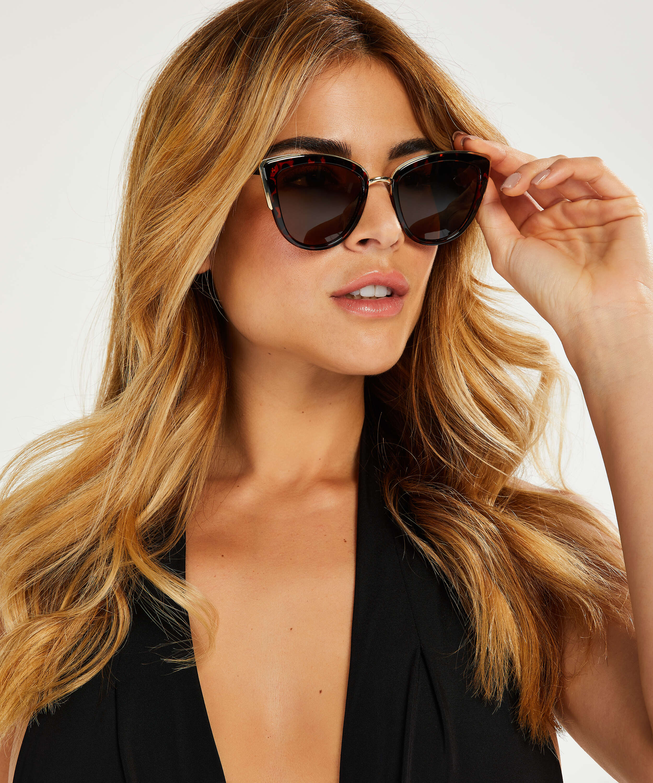 Cat Eye Sonnenbrille, Braun, main