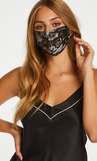 Gesichtsmaske Satin, Schwarz