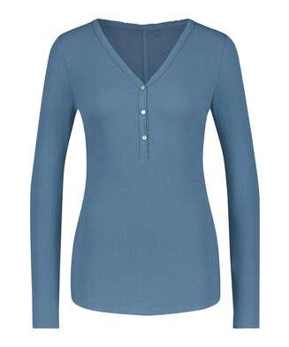 Pyjamatop Rib Grandad, Blau