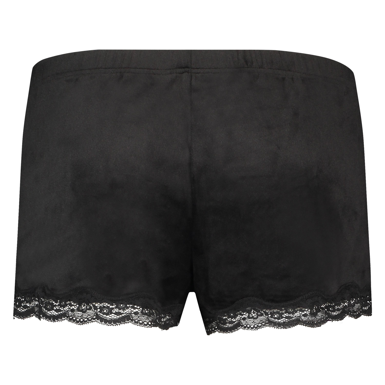 Shorts aus Velours mit Spitze, Schwarz, main