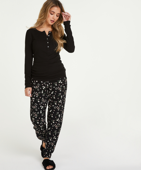 Pyjamahose Jersey, Schwarz
