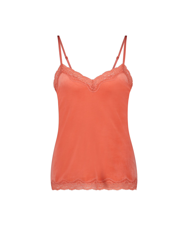 Cami Velours Spitze, Orange, main