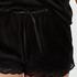 Shorts aus Velours mit Spitze, Schwarz