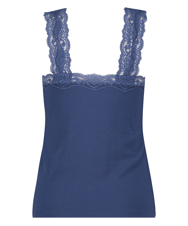 Hemdchen Ripp-Spitze, Blau, main