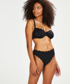 Nicht-vorgeformtes Bügel-Bikini-Oberteil Scallop Glam, Schwarz