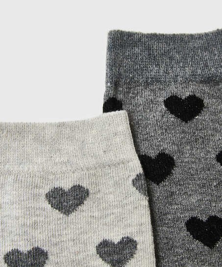 2 Paar Baumwollsocken, Grau