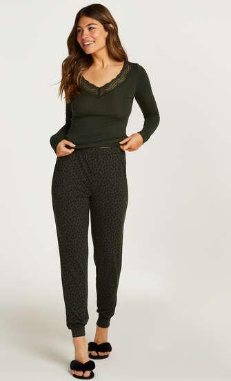 Pyjamaset Lace Dot Leopard, grün