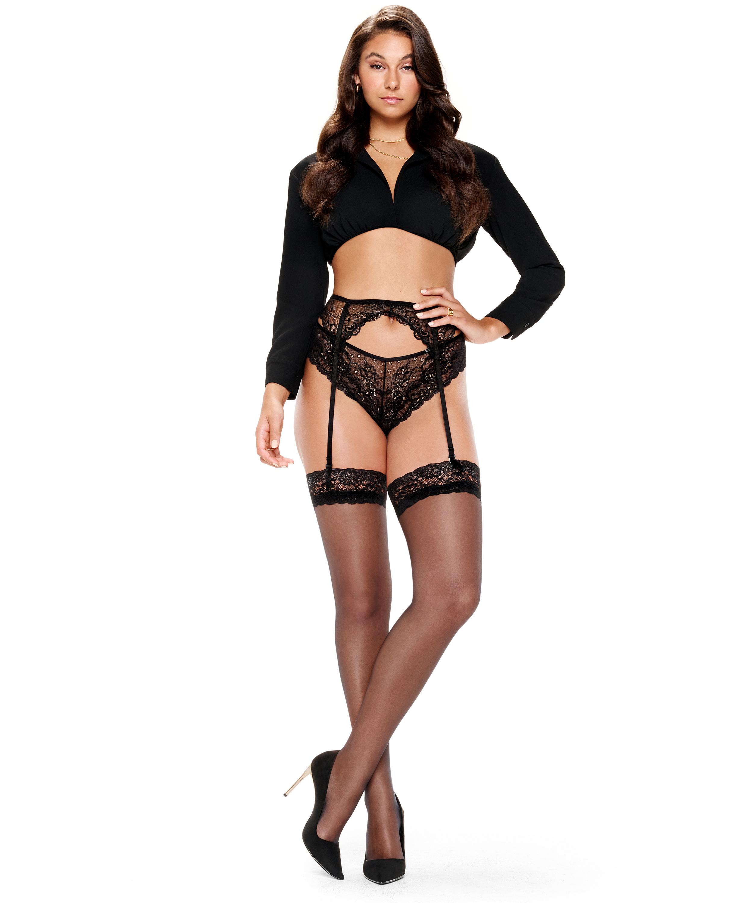 2 Paar Stockings 15 Denier Lace, Schwarz, main