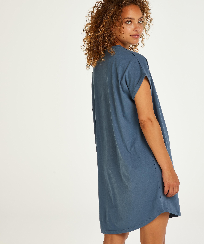 Nachthemd Rundhalsausschnitt, Blau, main