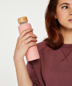 Wasserflasche aus Glas, Rose