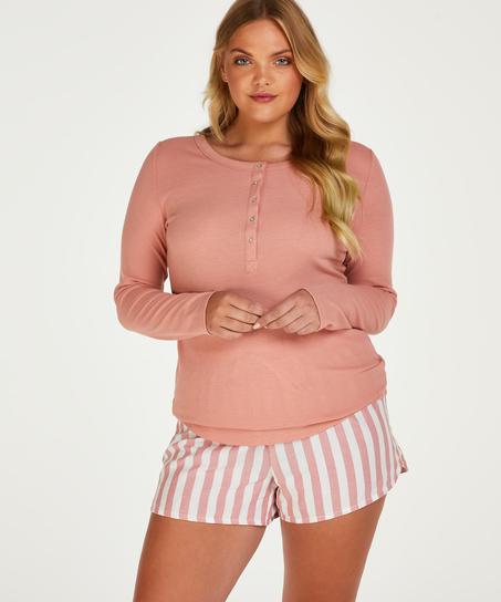 Langarm-Pyjamatop, Rose