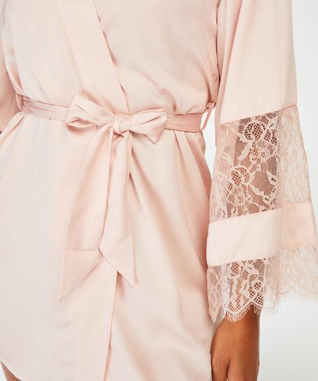 Kimono aus Satin und Spitze, Rose