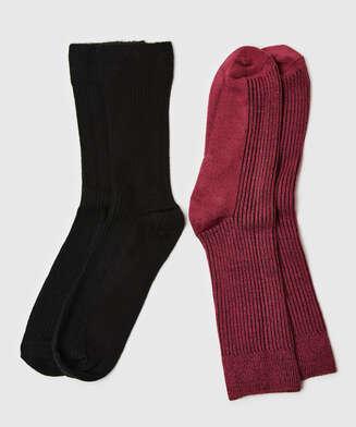 2 Paar Socken Rib Soft Touch, Rot
