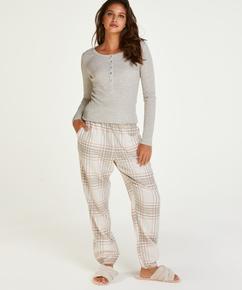 Pyjamahose Twill Check, Grau