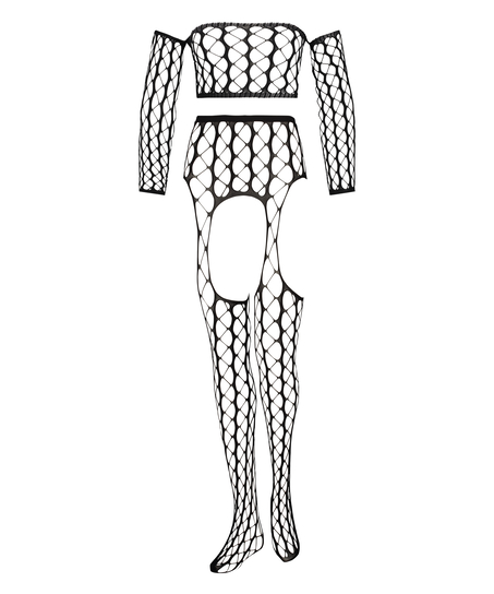 Private Fishnet Set Graphic, Schwarz