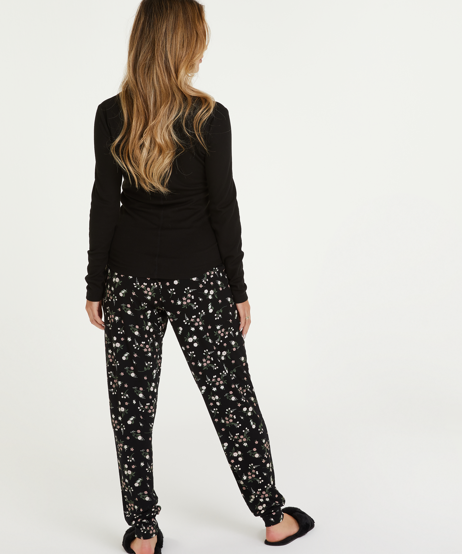 Pyjamahose Jersey, Schwarz, main